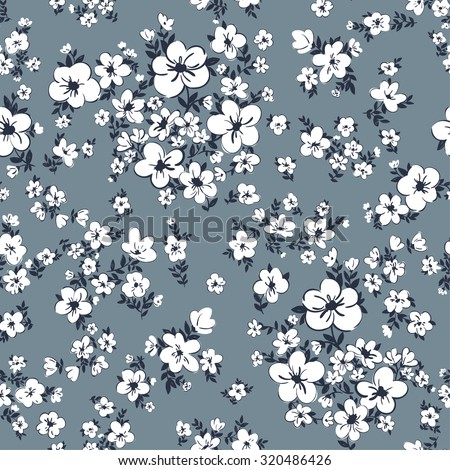 vector seamless cute gentle artistic hand drawn flower pattern. spring summer time, romantic ditsy floral background, in bloom, leaves, dots, artistic print. - stock vector