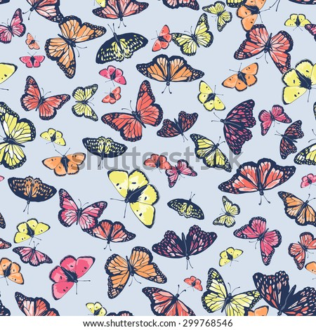 Vector seamless cute graphical artistic hand drawn butterfly pattern. Spring summer time. Colorful tropical background.  - stock vector