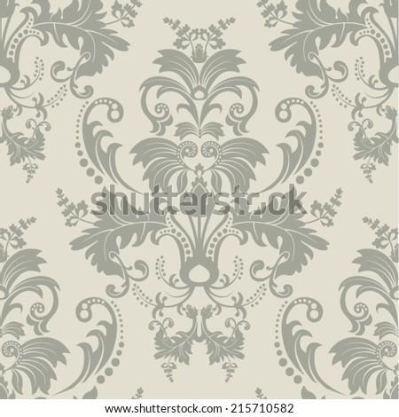 Vector seamless damask pattern - stock vector