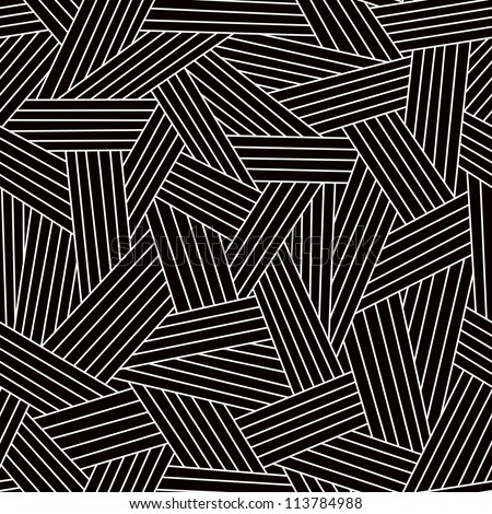 Vector seamless dark pattern with interweaving of thin light lines. Simple ornamental black and white illustration with stylized covering. Traditional hatching architectural hand drawn graphic.