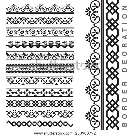 Vector Seamless Decorative Borders - stock vector