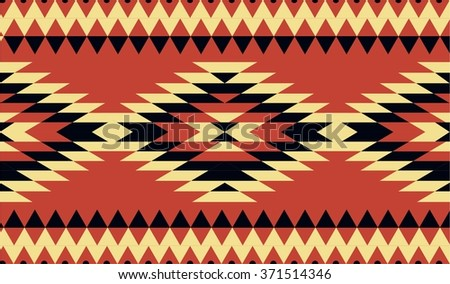 Vector seamless decorative ethnic pattern. American indian motifs. Background with aztec tribal ornament. Red, black, yellow colors - stock vector