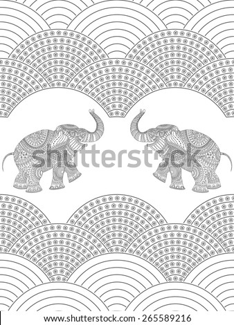 Vector seamless decorative pattern on white background from dark flowers, rope of pearls, and elephant with grey ethnic ornaments. - stock vector