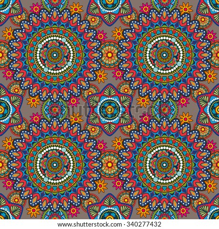 Vector seamless decorative pattern with round floral and geometric ornament - stock vector
