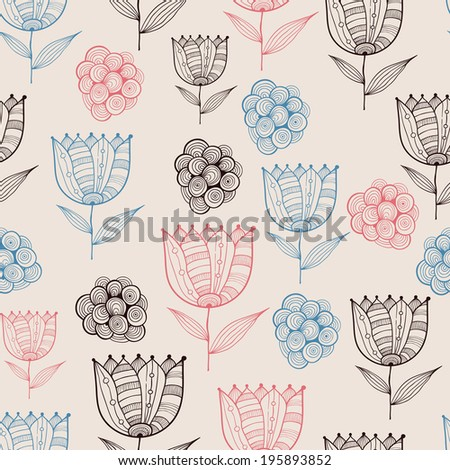 Vector Seamless Doodle Floral Pattern - stock vector