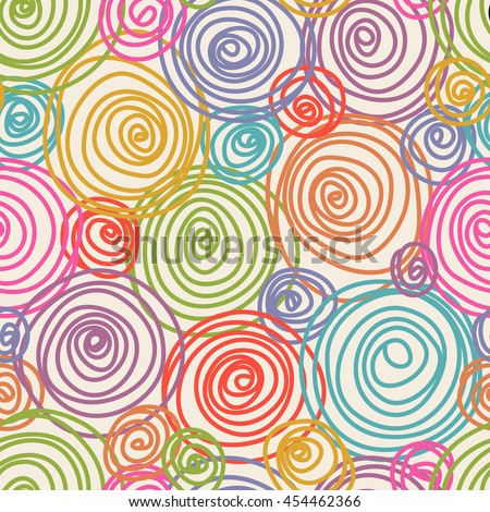 Vector seamless doodle swirl pattern. Hand drawn color illustration in childish style for print, web
