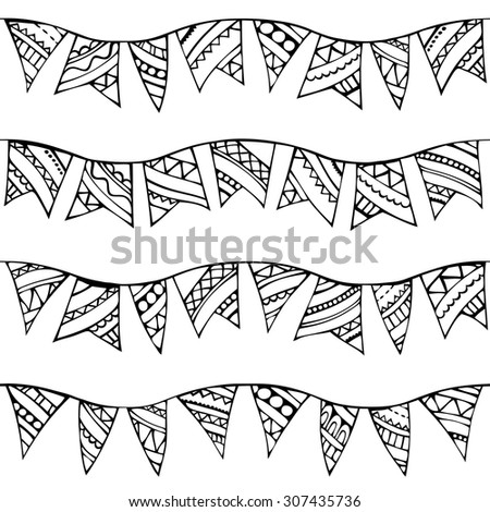 Vector seamless doodles garlands pattern. Black and white boundless texture can be used for web page backgrounds, wallpapers, wrapping papers, invitation, congratulations and festive designs.  - stock vector