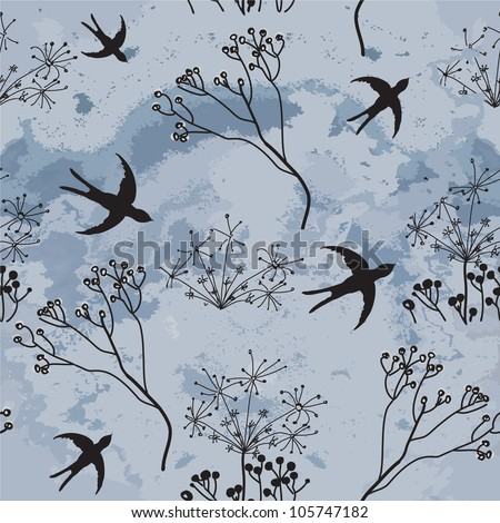Vector seamless drawing swallows hovering to dark cloudy sky and sketch dry flowers - stock vector