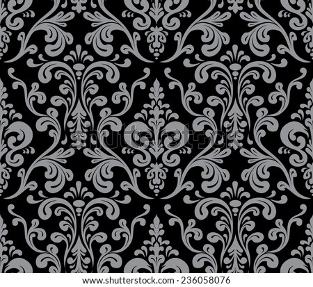 Vector. Seamless elegant damask pattern. Grey and black - stock vector