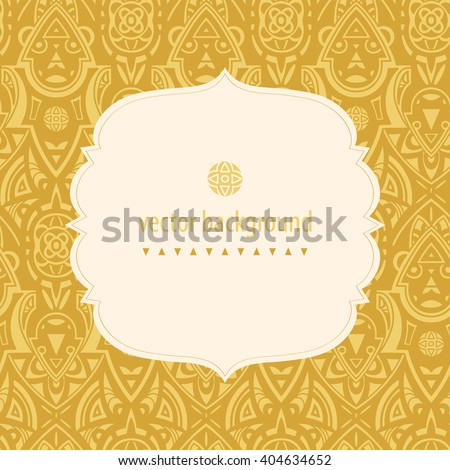 Vector seamless ethnic pattern. Abstract background. Geometric borders. Traditional colorful ornament. Frame for logo, label or greetings. - stock vector