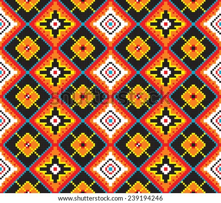 Vector seamless ethnic pattern of squares of blue, red, orange, black, white, yellow. Can be used as a scheme for embroidery, knitting.