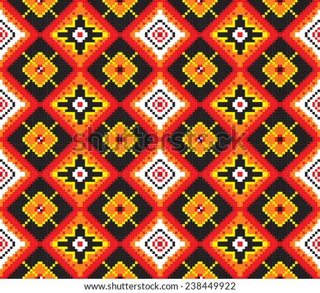 Vector seamless ethnic pattern of squares of red, orange, black, white, yellow. Can be used as a scheme for embroidery, knitting.