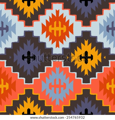 Vector seamless ethnic pattern with american indian motifs in multiple colors. Colorful aztec background. Textile print with navajo tribal ornament. Native american art. - stock vector