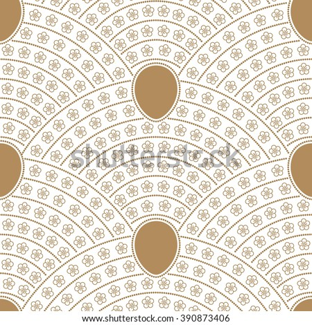 Vector seamless fan shaped floral pattern from stylized flowers, Easter egg and pearl beads. Golden beige contour linear drawing on a light white background - stock vector