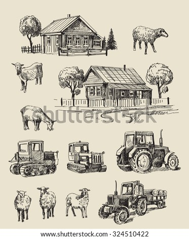 vector seamless farm and animals hand drawn set - stock vector