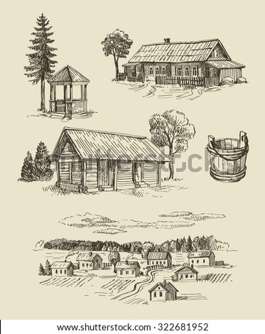 vector seamless farm and vintage hand drawn set - stock vector