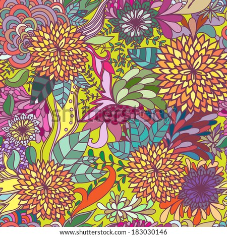 Vector seamless floral bright abstract pattern - stock vector