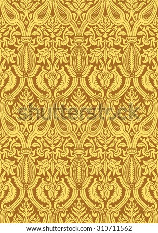 Vector seamless floral damask pattern for wedding invitation or vintage abstract background