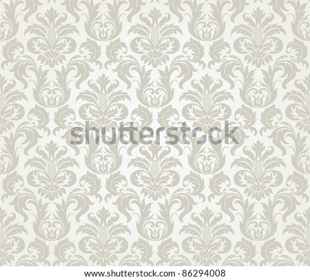 Vector seamless floral damask pattern for wedding invitation or vintage abstract background - stock vector