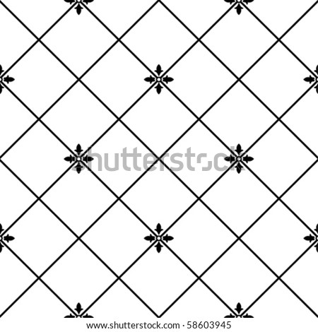 vector SEAMLESS floral geometric  pattern black and white - stock vector