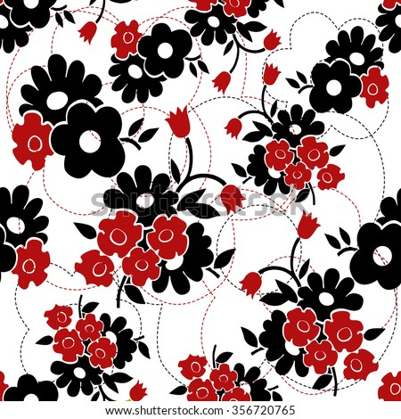 Vector Seamless Floral Pattern Black And Red Background