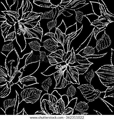 Vector seamless floral pattern, freehand drawing - flowers and leafs - stock vector