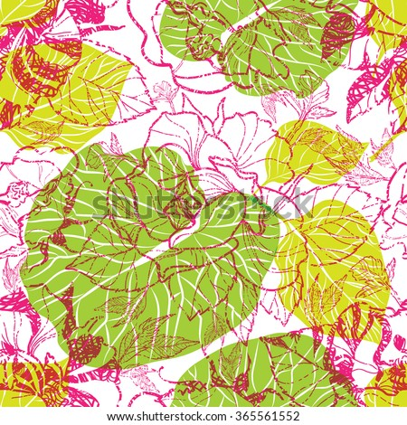 Vector seamless floral pattern, freehand drawing - flowers and leaves - stock vector
