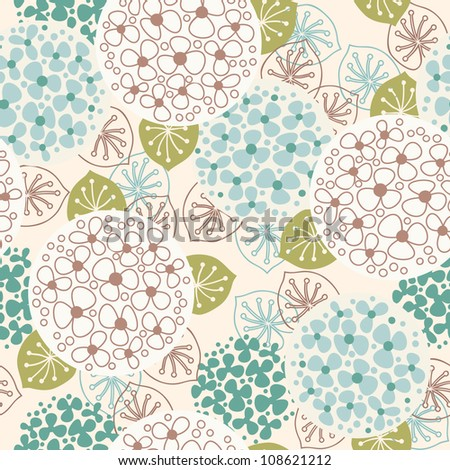 Vector seamless floral pattern. Vintage background with flowers and leaves. Stylized concept of blooming garden. Abstract ornamental illustration for print and web - stock vector