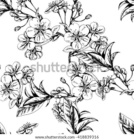Vector seamless floral pattern with blooming Cherry branch. Black and white. Hand drawn herbal sketch for print, fabric, wrapping and other seamless design. - stock vector