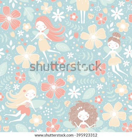 Vector seamless floral pattern with cute fairies