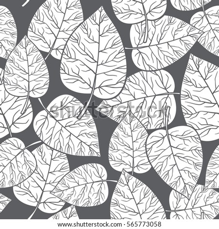 Vector Seamless Floral Pattern With Decorative White Leaves On A Gray Background Wallpaper Textile