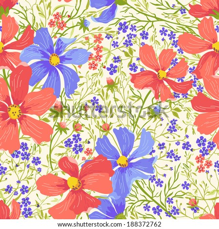 Vector seamless floral pattern with flowers and herbs. - stock vector