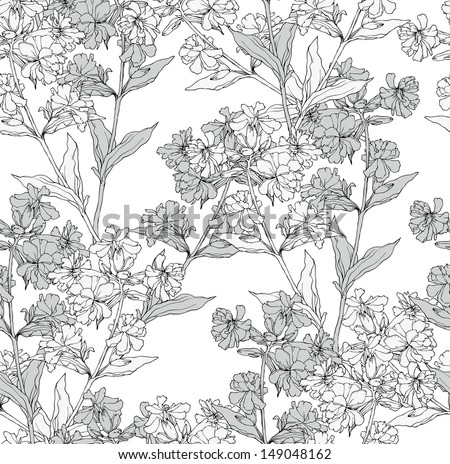 Vector seamless floral pattern with hand drawn flowers. - stock vector