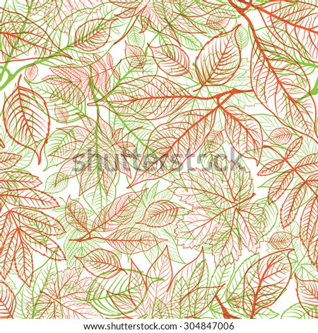 Vector seamless floral pattern with leafs - stock vector