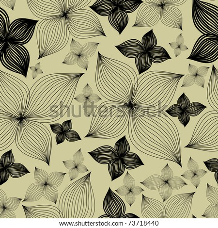 """Vector Seamless floral pattern with lilly flower  (From my big """"Seamless collection"""") - stock vector"""