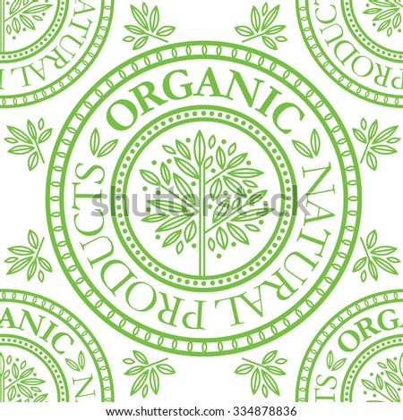 "Vector seamless floral pattern with ""Natural product"" stamp"