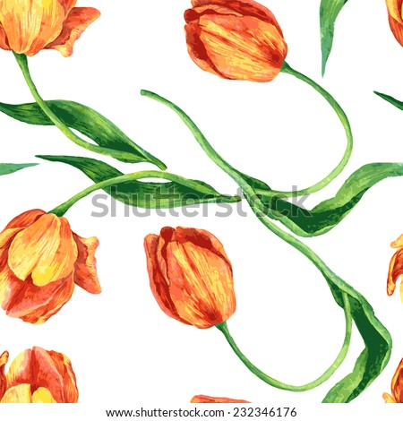 vector seamless floral pattern with watercolor drawing tulips hand drawn natural illustration with flowers