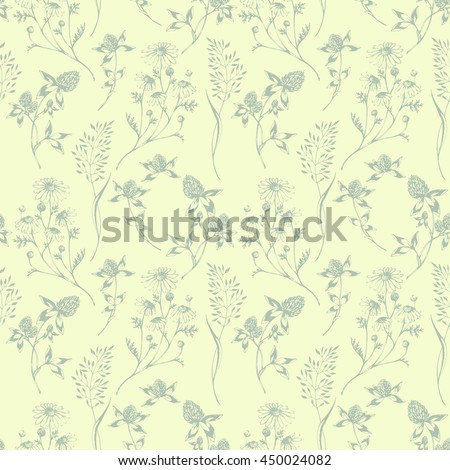 Vector seamless floral pattern with wild herbs and flowers. Hand drawn botanical herbal illustration in sketch style. For print, fabric, wallpaper, wrapping and other seamless design. - stock vector