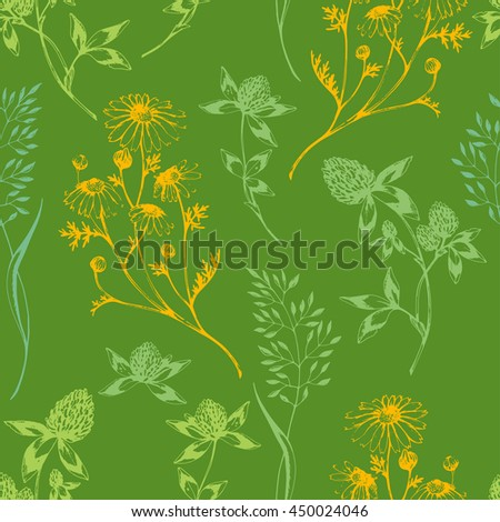 Vector seamless floral pattern with wild herbs and flowers on green. Hand drawn botanical herbal illustration in sketch style. For print, fabric, wallpaper, wrapping and other seamless design. - stock vector