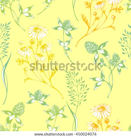 Vector seamless floral pattern with wild herbs and flowers on yellow. Hand drawn botanical herbal illustration in sketch style. For print, fabric, wallpaper, wrapping and other seamless design. - stock vector