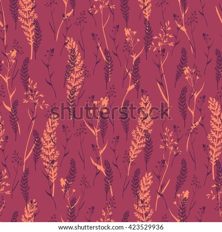 Vector seamless floral pattern with wild herbs and leaves on red. Hand drawn botanical illustration for print, wrapping, fabric, background and other seamless natural design. - stock vector