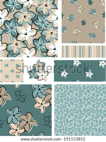 Vector Seamless Floral Patterns and Icons. Use as fills, or print off onto fabric to create unique items. - stock vector