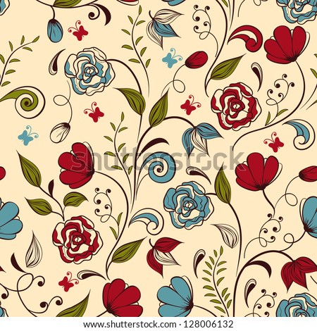Vector seamless floral  spring pattern,  fully editable eps 8 file with clipping mask and seamless pattern in swatch menu - stock vector