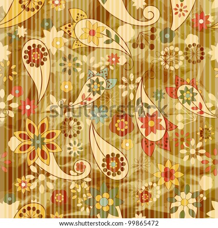 vector seamless floral wallpaper on striped background,  crumpled burning paper texture - stock vector