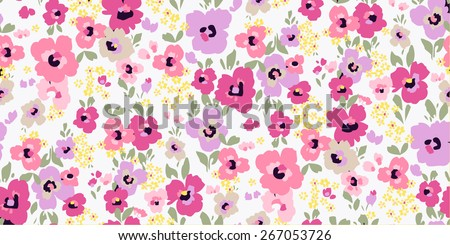 Vector seamless flower pattern background - stock vector