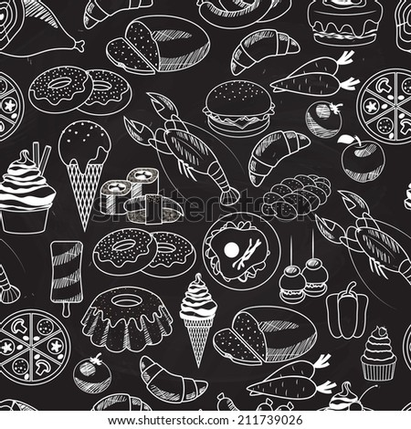 stock vector vector seamless food on chalkboard background for wallpapers mostly used in restaurants designs 211739026 - Каталог — Фотообои «Еда, фрукты, для кухни»