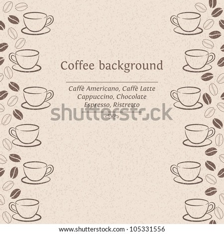 Vector seamless frame with coffee beans and cups - stock vector