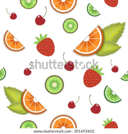Vector seamless fruit pattern. Orange, lime, cherry, strawberry, mint leaves. Wrapping paper, wallpaper, package design. - stock vector