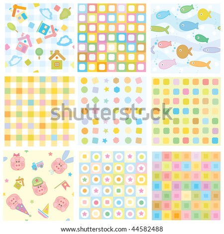 Vector seamless, fun baby  patterns for your design