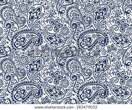 vector seamless gentle paisley print with flowers and dots and grunge texture - stock vector